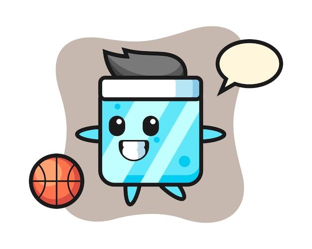 Illustratie van ijsblokje cartoon speelt basketbal