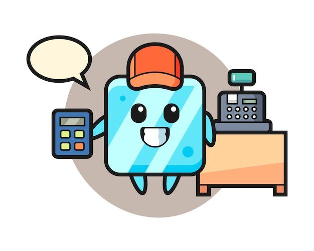 Illustratie van ijsblokjeskarakter als kassamedewerker