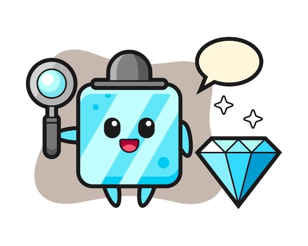 Illustratie van ijsblokjeskarakter met een diamant