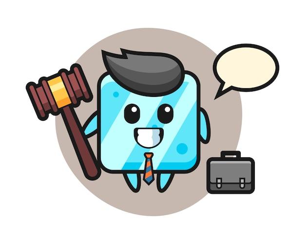 Illustratie van ijsblokjesmascotte als advocaat