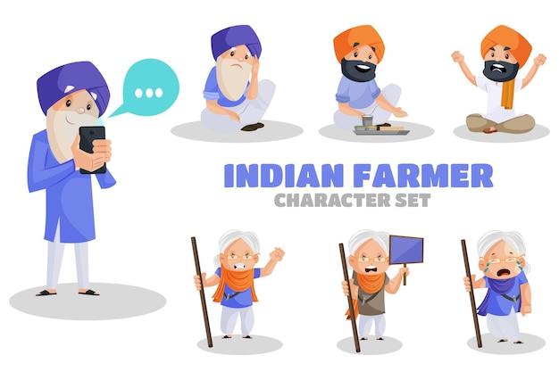 Illustratie van indiase boer tekenset