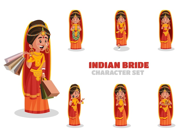 Illustratie van indiase bruid tekenset
