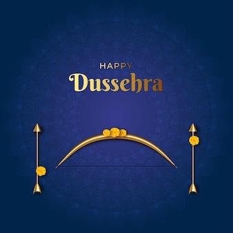Illustratie van indiase festival happy dussehra viering banner met dhanush baan