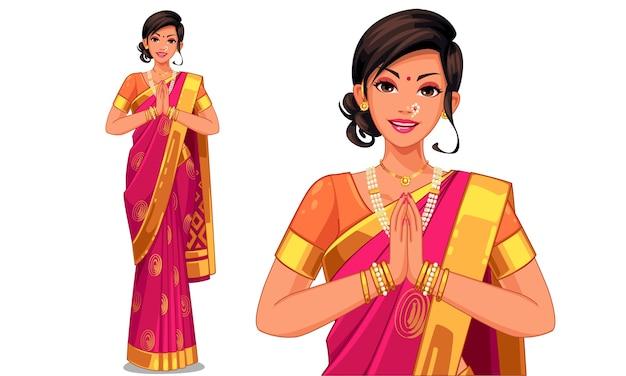 Illustratie van indiase vrouw met traditionele outfit