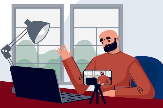 Illustratie van influencer die nieuwe video opneemt