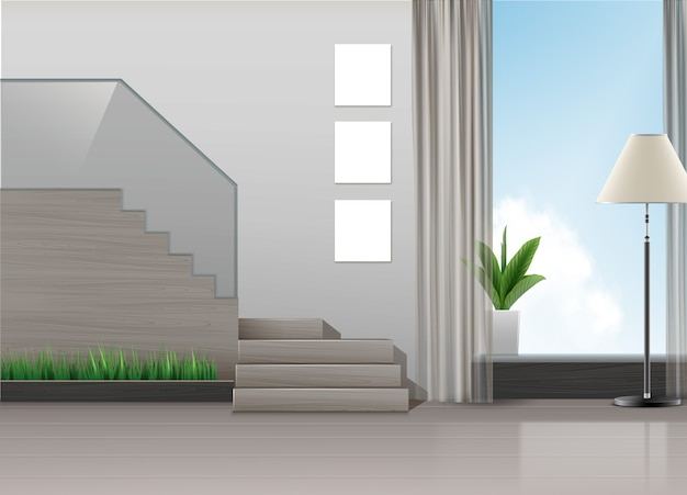 Illustratie van interieur in minimalistische stijl met trap, lamp, planten en groot raam