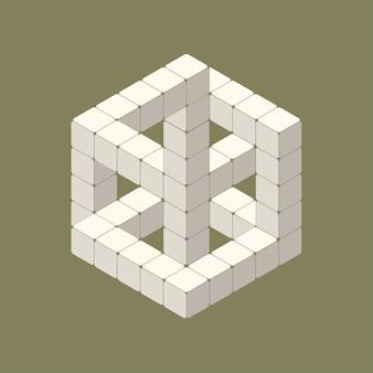 Illustratie van isometrische optische illusie in witte kubus