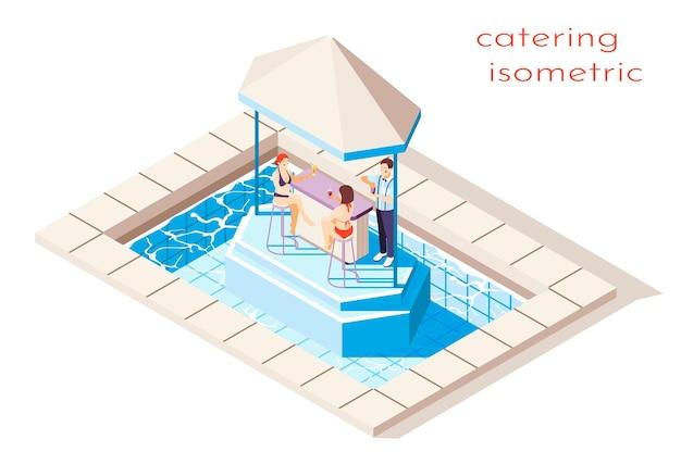 Illustratie van isometrische partij bij zwembad met catering