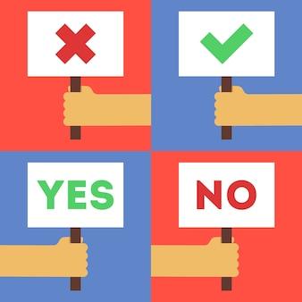 Illustratie van ja en nee