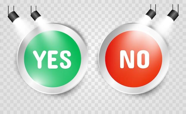 Illustratie van ja of nee knoppen. selectie pictogrammen