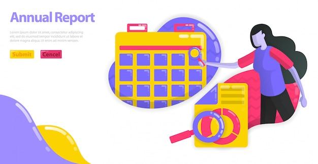 Illustratie van jaarverslag. stel de planning en planning voor het bedrijfsboekhoudingsrapport in. financiële planning van bedrijven.