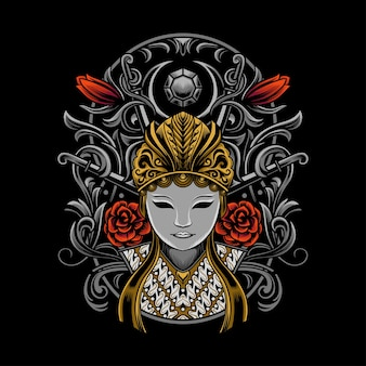 Illustratie van japans cultuurmasker met gedetailleerd ornament
