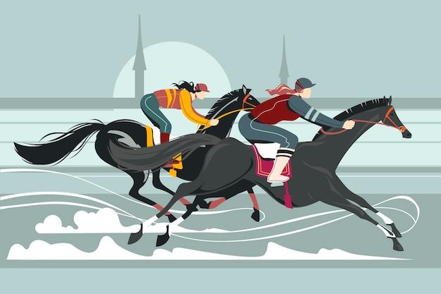 Illustratie van jockeys op het rennen van paardencompetitie