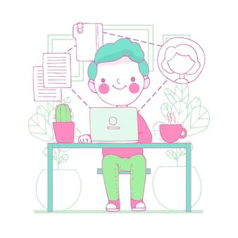 Illustratie van jonge man telewerken