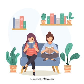 Illustratie van jonge mensen lezen