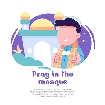 Illustratie van jongen die gelukkig in moskee bidt