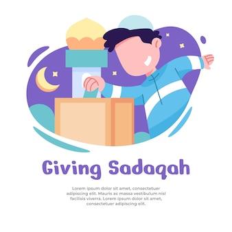 Illustratie van jongen die sadaqah geeft tijdens ramadan
