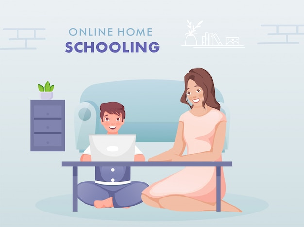 Illustratie van jongen met online studie van laptop in de buurt van moderne vrouw zittend in de woonkamer om het coronavirus te voorkomen.