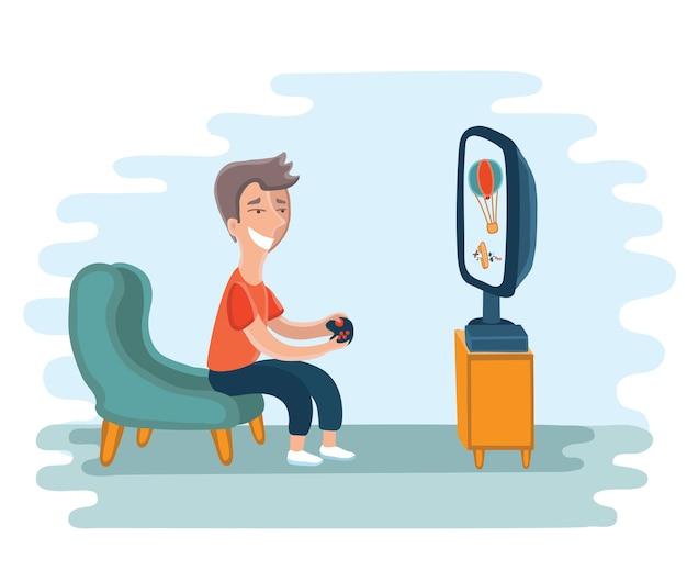 Illustratie van jongen verslaafd aan het spelen van videogames