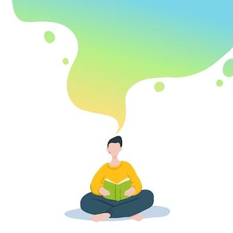 Illustratie van jongen zitten en lezen van boek, dromen.