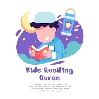 Illustratie van jongens die meer bidden tijdens de maand ramadan
