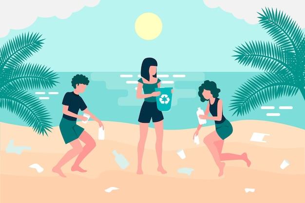 Illustratie van jongeren die een strand schoonmaken