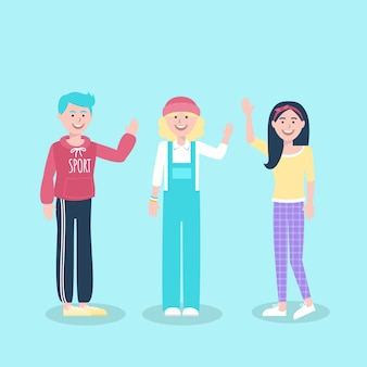 Illustratie van jongeren die hand golven