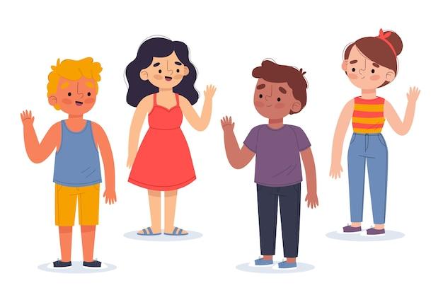 Illustratie van jongeren die handpak golven