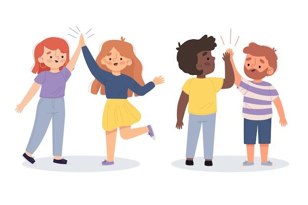 Illustratie van jongeren die hoge reeks vijf geven