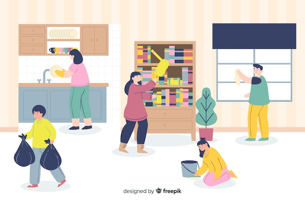 Illustratie van jongeren die huishoudelijk werk doen