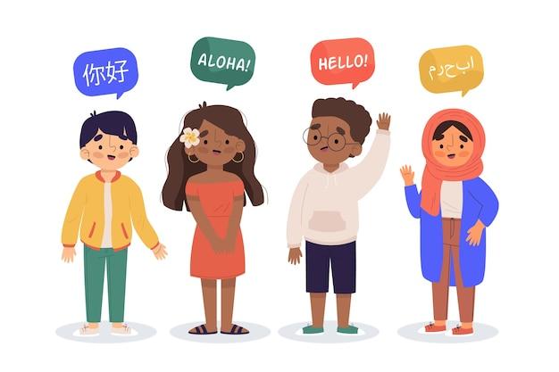 Illustratie van jongeren die in verschillende geplaatste talen spreken