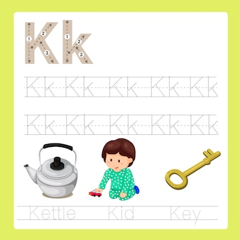 Illustratie van k oefent az cartoonwoordenschat uit