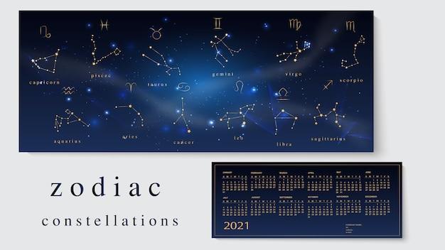 Illustratie van kalender voor met sterrenbeelden van de dierenriem.