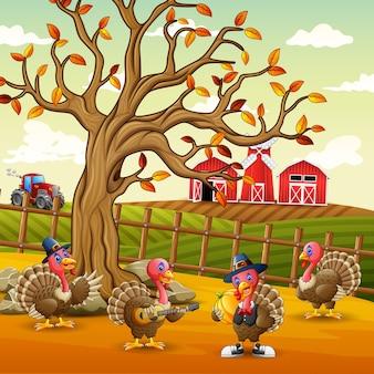 Illustratie van kalkoenen binnen de boerderijomheining