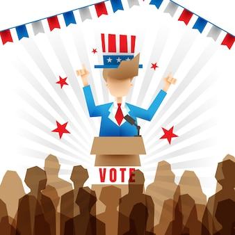 Illustratie van kandidaat in presidentiële campagne