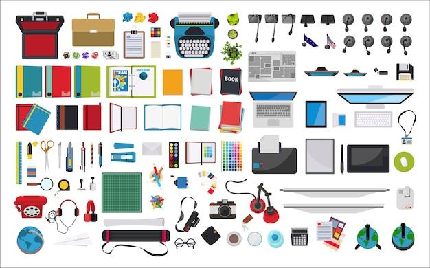 Illustratie van kantoorbehoeften op het werk