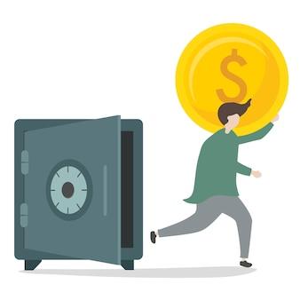 Illustratie van karakter dat geld terugtrekt