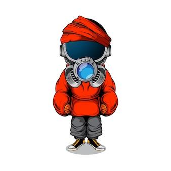 Illustratie van karakter met gasmask en urban streetwear