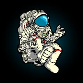 Illustratie van karakter vliegende astronaut in de melkweg