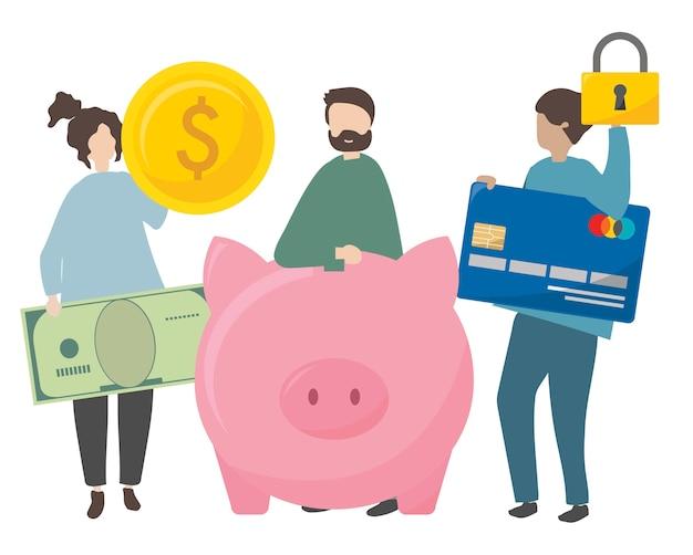 Illustratie van karakters met beveiligde financiën