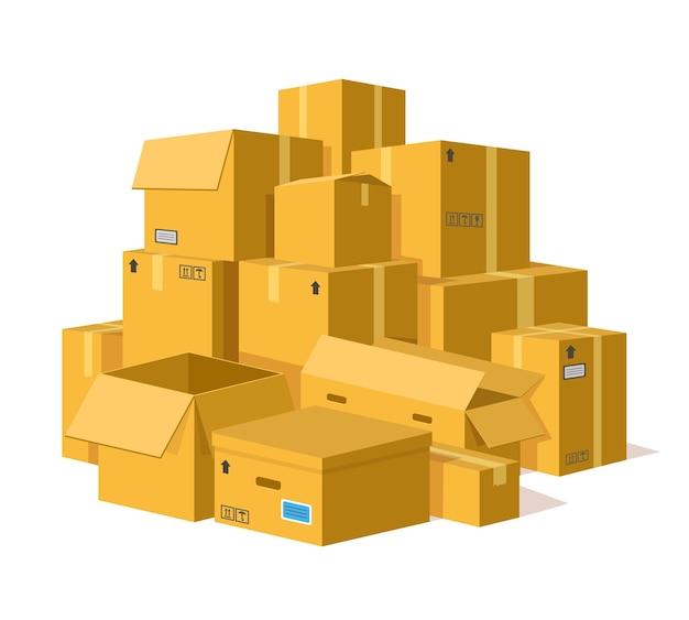 Illustratie van kartonnen dozen