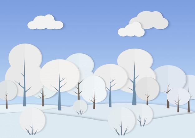 Illustratie van kartonnen papier bos met bomen en struiken in de sneeuw