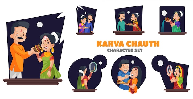 Illustratie van karva chauth-tekenset