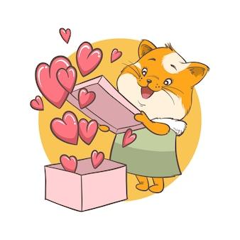 Illustratie van kat opent een doos met hart. kaart en achtergrond