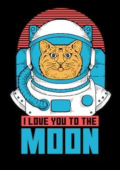 Illustratie van kattenastronaut klaar om verkenning van de ruimte te doen.