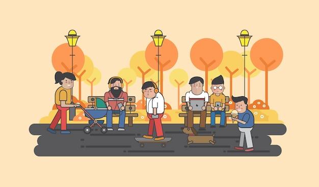 Illustratie van kerels die in het park hangen