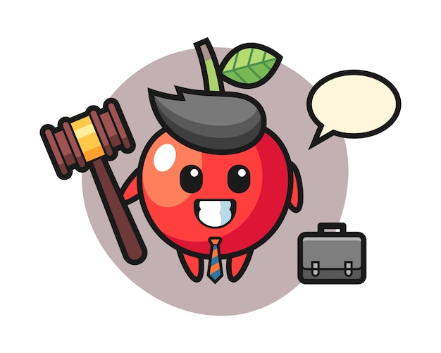 Illustratie van kersenmascotte als advocaat, leuk stijlontwerp