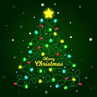 Illustratie van kerstboom gemaakt van gloeilampen