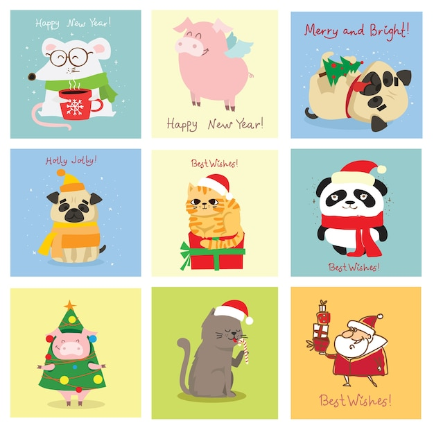 Illustratie van kerstkatten, varkens, ratten en honden met kerst- en nieuwjaarsgroeten. leuke huisdieren met vakantiehoeden en cadeautjes.