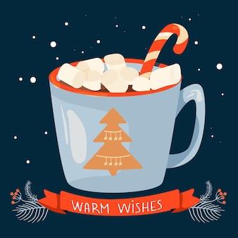 Illustratie van kerstmis en gelukkig nieuwjaar mok cacao met marshmallow